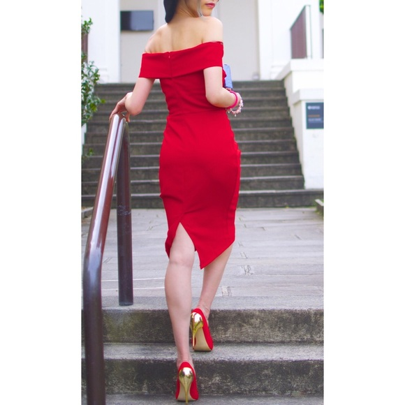 Zara Dresses & Skirts - Zara Love Red Off The Shoulder Bodycon Tube Dress